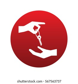 Hands with key icon isolated vector sign symbol on red background. Transport elements. Can be used in logo, UI and web design
