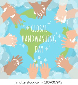 Hands of kids from several races washing and wiping around the globe surrounding by soap bubble in flat cartoon style for global handwashing day