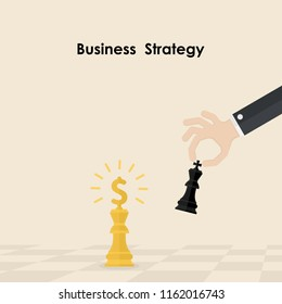Hands and King of chess symbol.Business and marketing strategy.Businessman hand holding chess king piece.Leader and teamwork concept.Business strategy concept.Vector illustration.
