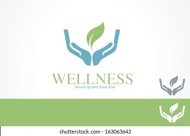 Hands Leaf Green Wellness Health design template