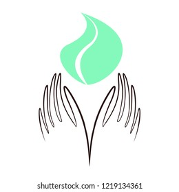 Hands leaf shape vector. Charity, health, voluntary, caring hand logo. Heart in hand flat vector icon, non profit foundation.