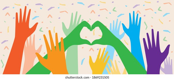 Hands of LGBTQ people at the parade. Flat vector stock illustration. Concept of gay parade, homosexual community, lgbtq crowd. Hands of people, leshbians, homosexuals. Gay community