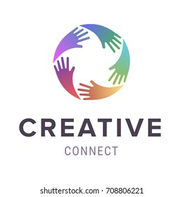 Hands logo. Abstract logo design. Vector concept or conceptual circle spiral of colorful hand symbols