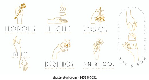 Hands logo set in minimalist line style