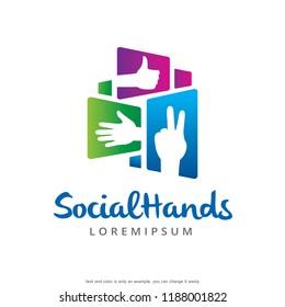 Hands Logo Template Design Vector, Emblem, Concept Design, Creative Symbol, Icon
