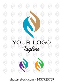 hands logotype. Relax massage care vector logo