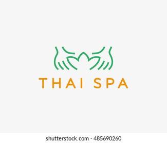 Hands lotus spa resort vector logotype.Creative beauty massage salon logo design.