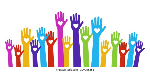 hands love color holding hearts