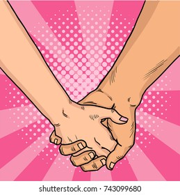 Hands of lovers comic style. Two lovers crossed their arms. Valentine's Day. Pink background. Vintage pop art retro vector illustration. EPS 10.