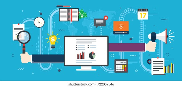 Hands with magnifying glass and megaphone, financial chart. .Business icon and computer screen with data analysis. Concept of business, finance and success in business. Flat design vector.