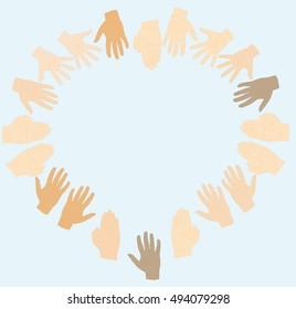 Hands make heart shape. vector illustration