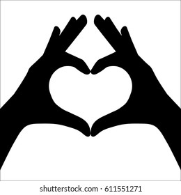 Hands making or formatting a heart symbol silhouette