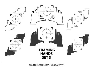 Hands making frame for video or photo design set3. Various combinations of frames made from fingers. Vector illustrations of perspective view.