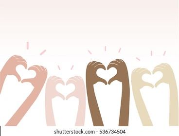 Hands making heart sign up over, Valentine's day, vector illustration.