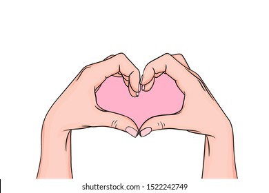 hands making a heart symbol. heart shaped gesture, a message of love. showing I love you. Isolated vector illustration