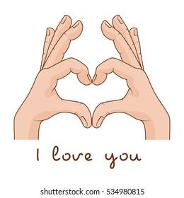 Hands making Sign Heart. Inscription I love you. Vector illustration