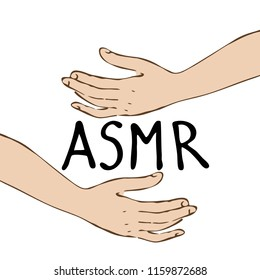 hands making smooth movements with text asmr. Hand drawn, isolated on white background.