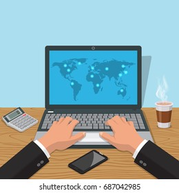 Hands of the man print on the laptop.Workplace of a biznsmen with a glass of coffee, phone, the calculator.Internet globalization.3D style. Vector illustration.