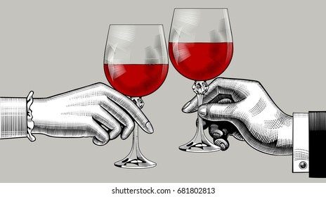 Hands of man and woman clink glasses with red wine. Vintage engraving stylized drawing. Vector illustration