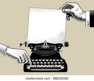 Hands of man and woman with old typewriter. Vintage engraving stylized drawing. Vector illustration