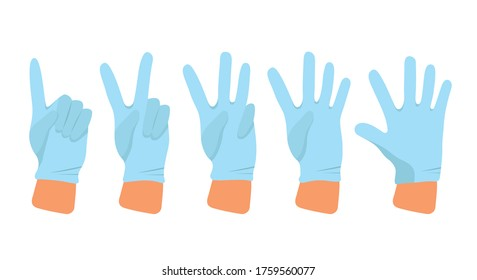 Hands in medical rubber gloves show the numbers - one, two, three, four, five.Illustration of safety measures against covid-19 virus. Person puts on gloves.