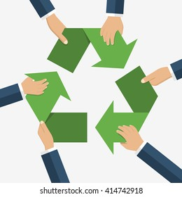 Hands of men holding sign recycling. Recycle sign. Recycle symbol. Vector illustration, flat design style. Caring for environment. Recycle concept. Environmental protection.