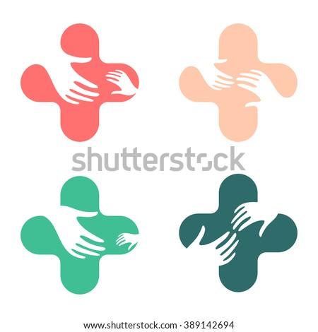 Hands Mercy Company Logo Help Disadvantaged Stock Vector Royalty