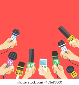 Hands with microphones. Journalism, live report, hot news concept. A lot of hands holding microphones and audio recorders. Modern flat design graphics elements. Vector illustration