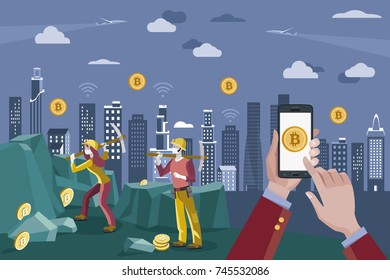 Hands with a mobile phone. Bitcoin icon on mobile phone. In the background cryptography coin miners. Block-chain Concept.