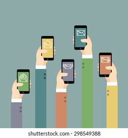 Hands with mobile phones. Illustration of Communication.  Vector illustration.