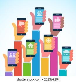 Hands with modern smartphones,  flat design, vector illustration, logo