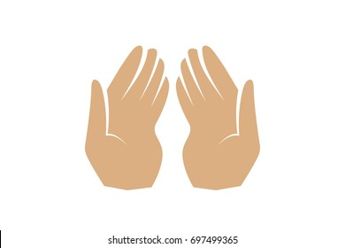 Hands of a Muslim who prays, the vector on a white background. Use for Arafat, Hajj, Umrah, Ramadan, Prayer. Vector illustration.
