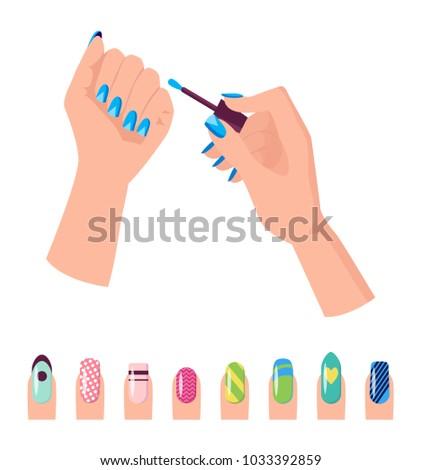 hands nail polish banner template fingernails stock vector royalty