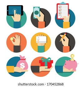 Hands with object icons set, Flat Design Vector illustration