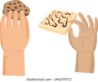 Hands offers sweetness with cake vector arm holding chocolate confectionery sweet confection seduction, no diet. not healthy junk food. Dessert bakery illustration set of hand hold sweets on white