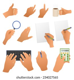 Hands in the office pointing gestures, writing hand, type the text , mouse and calculator isolated on white background