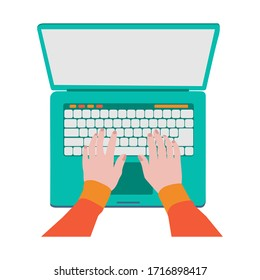 Hands on laptop keyboard typing text, laptop with blank screen to insert test. vector image with trendy colors.