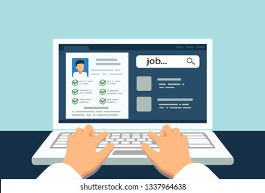 Hands on laptop, resume creation, job search, job selection, vector, illustration
