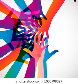 Hands up on a light background. Colorful silhouettes arms.  Vector team, help, friendship symbol illustration.