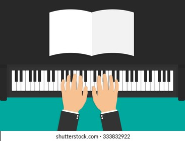 Hands on piano keyboard with a blank sheet of paper on the piano. Flat style. Top view