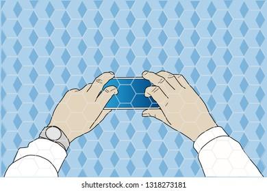 Hands on smart phone