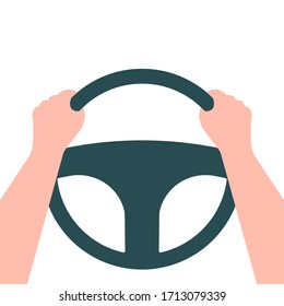 Hands on the steering wheel of a car. Driver. Vector illustration