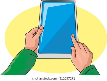 hands on the tablet