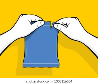Hands opening plastic package