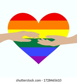 Hands outstretched to each other - rainbow colorful LGBT heart - isolated on white background - vector. Gay Pride. LGBT concept.