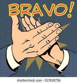 hands palm applause success text Bravo retro style pop art