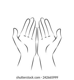 Hands. Palm up. Vector illustration