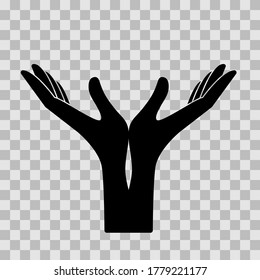 Hands, palms up. Vector icon, black silhouette. flat minimal design isolated on transparent background, eps 10.