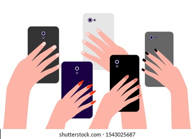 Hands of people with cell phones. Group of people men and women take photos, videos on smartphone. Record of an interesting, bright, shocking, memorable event, incident. Vector on white background