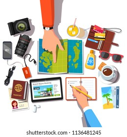 Hands of people couple pointing at map, planning vacation trip choosing location & writing items check list. Set of travel items. Top closeup view. Journey plan. Flat vector isolated illustration